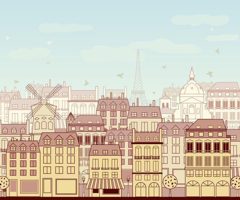 Cityscape van Parijs royalty-vrije illustratie