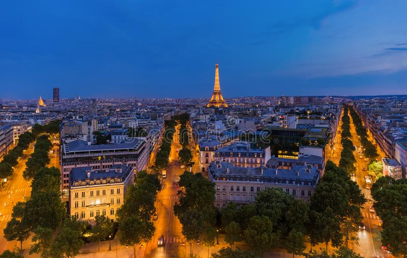 Cityscape van Parijs Frankrijk stock foto's