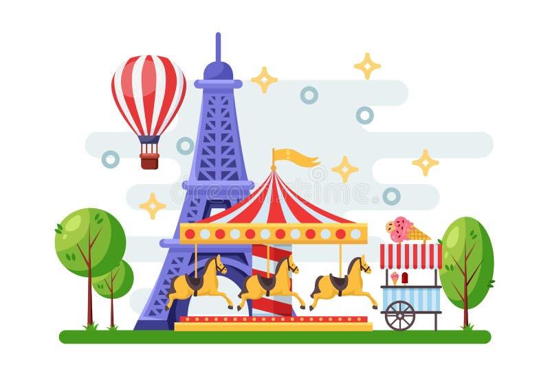 Cityscape van Parijs met de toren van Eiffel, pretparkcarrousel en het karretje van het straatvoedsel Vector vlakke illustratie royalty-vrije illustratie