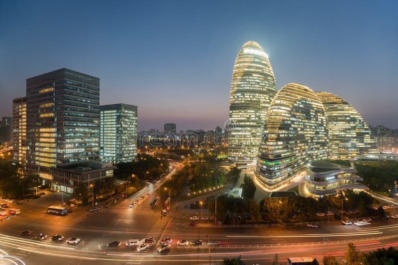 Cityscape van Peking en de beroemde oriëntatiepuntbouw in WangJing Soho royalty-vrije stock foto