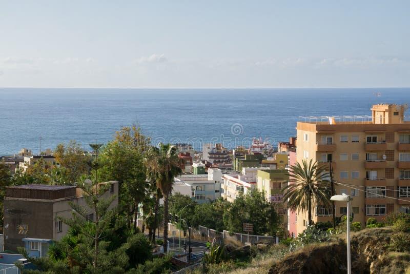 Cityscape van Puerto de la Cruz stock foto's