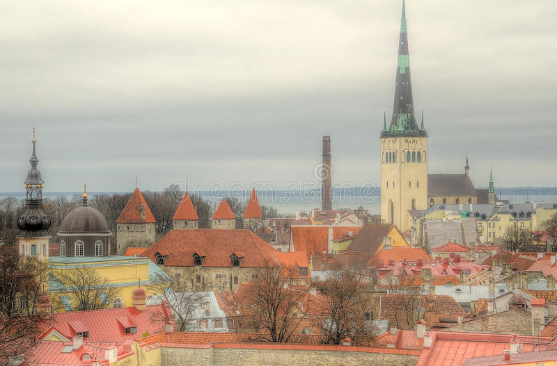 Cityscape van Red Roof van de Tallin Oude Stad royalty-vrije stock foto's