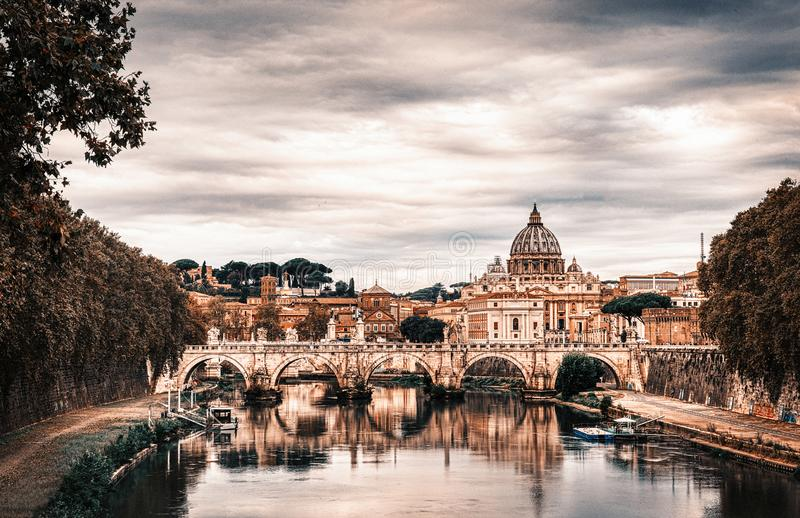 Cityscape van Rome in oktober - Italië, - 5 Oktober, 2018 stock afbeelding