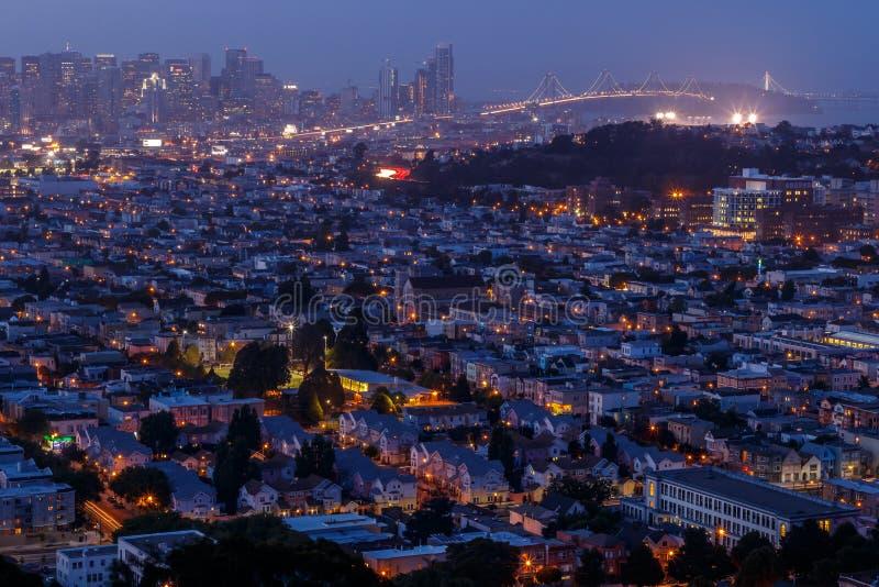Cityscape van San Francisco panorama met mening van financiële dist stock foto's
