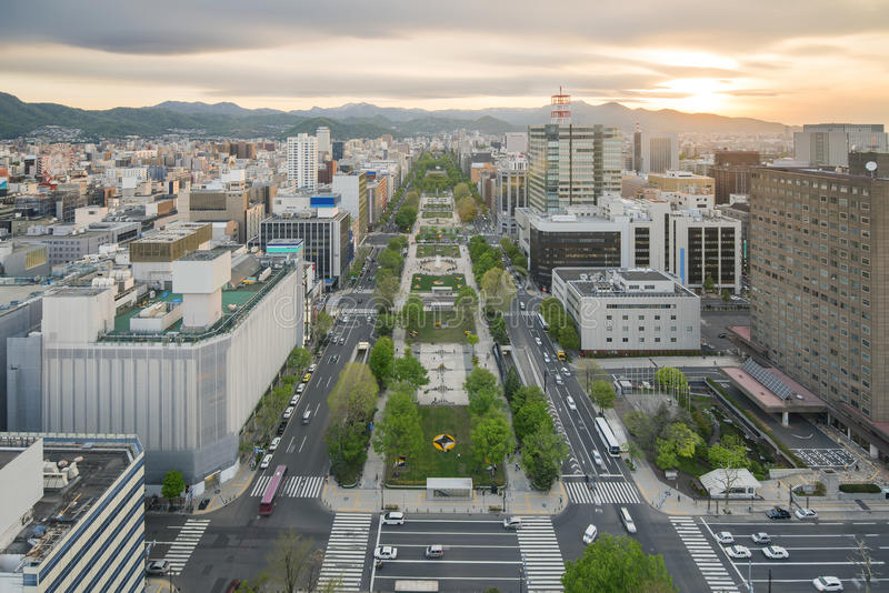 Cityscape van Sapporo bij odoripark, Hokkaido, Japan stock afbeelding