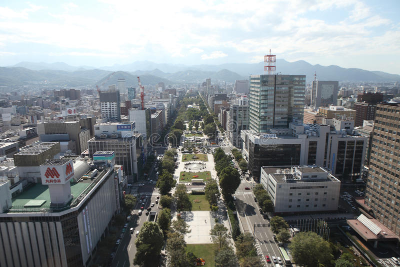 Cityscape van Sapporo Van de binnenstad royalty-vrije stock afbeelding