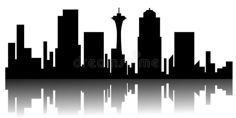 Cityscape van Seattle silhouet royalty-vrije illustratie