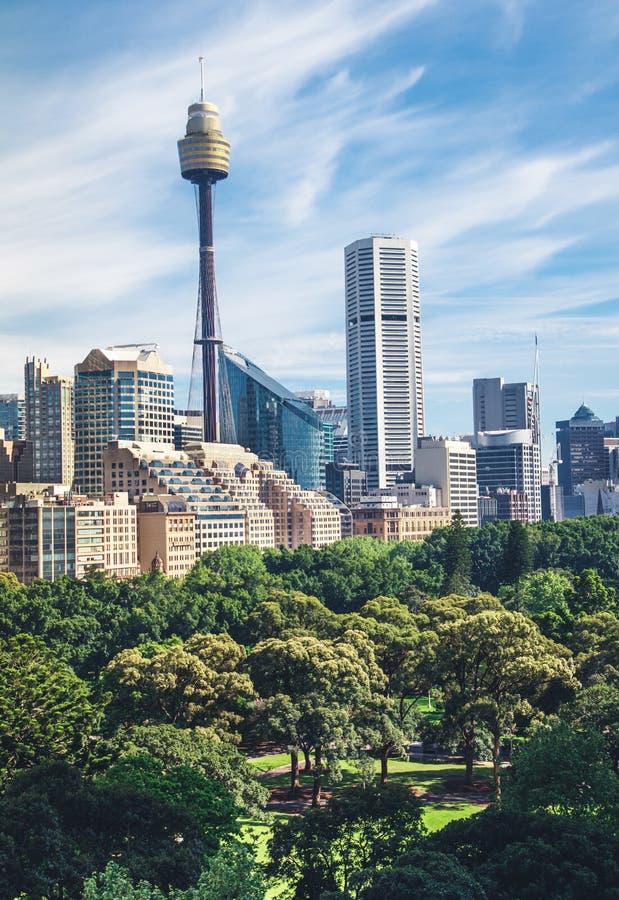 Cityscape van Sidney panorama en Hyde-park stock foto