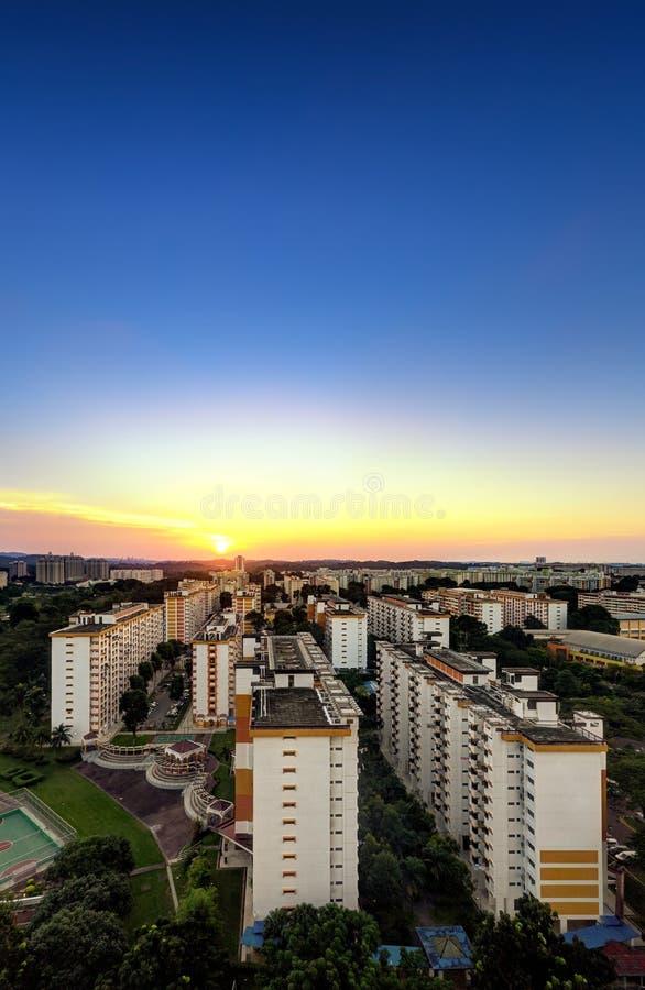 Cityscape van Singapore beeld van de woningbouw van HDB royalty-vrije stock afbeelding
