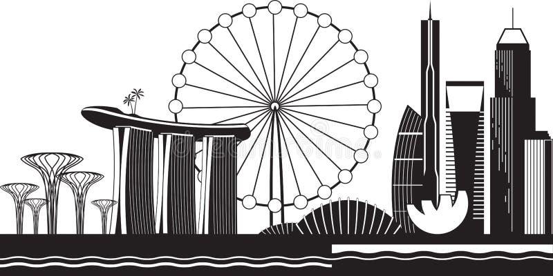 Cityscape van Singapore tegen dag stock illustratie