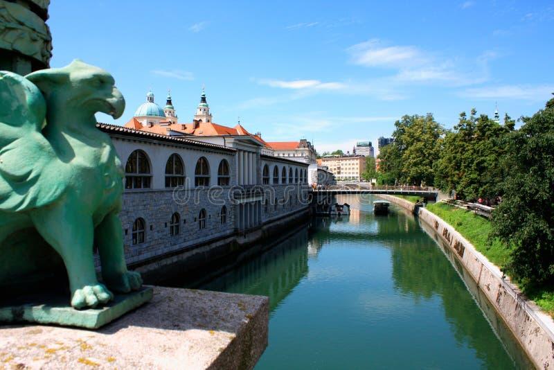 Cityscape van Sloveens hoofdljubljana van Draakbrug stock foto