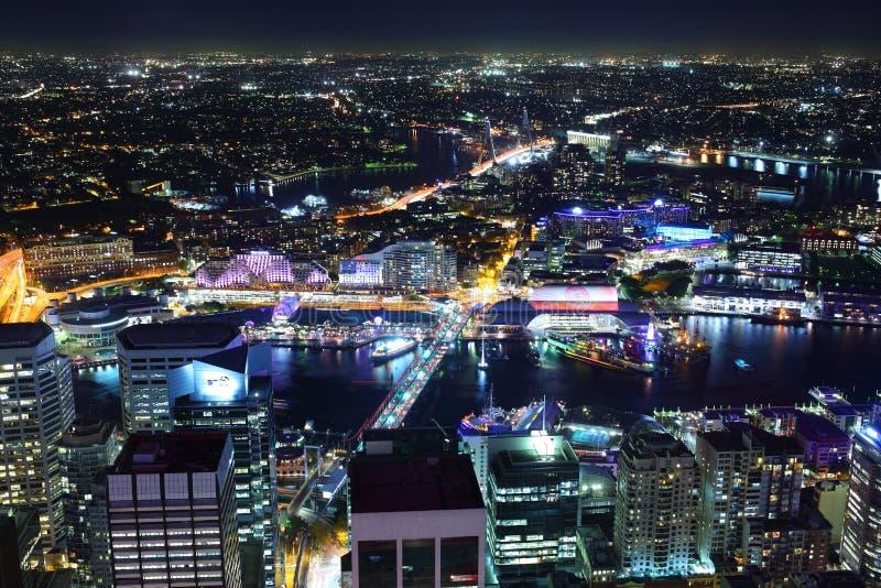 Cityscape van Sydney bij nacht royalty-vrije stock fotografie