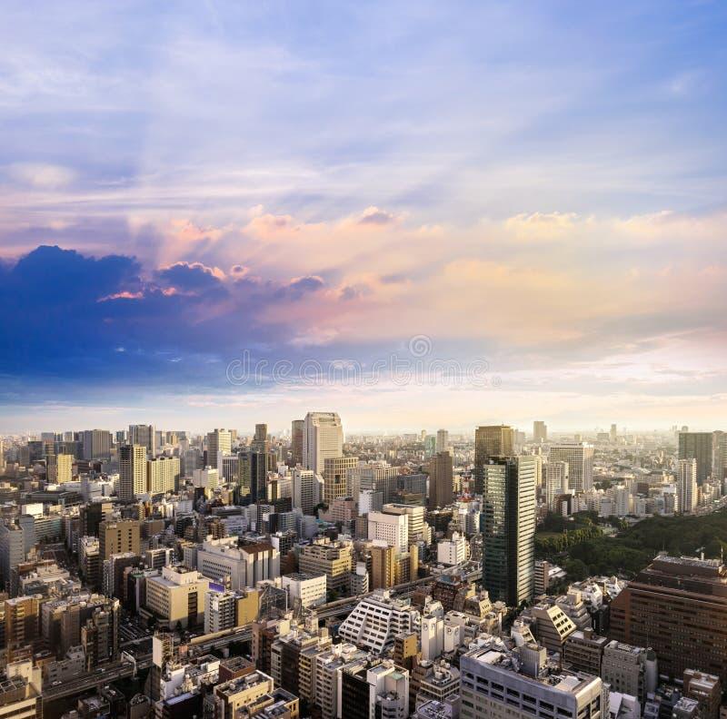 Cityscape van Tokyo, mening van de stads de luchtwolkenkrabber van bureaubuildi royalty-vrije stock foto