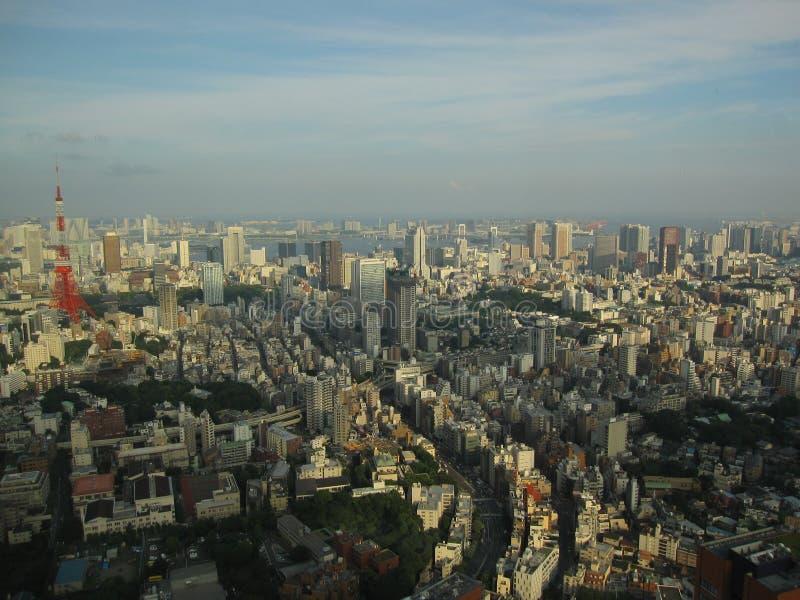Cityscape van Tokyo mening van hierboven over de Toren van Tokyo royalty-vrije stock afbeelding