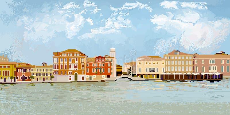 Cityscape van Venetië Pixelgrafiek royalty-vrije illustratie