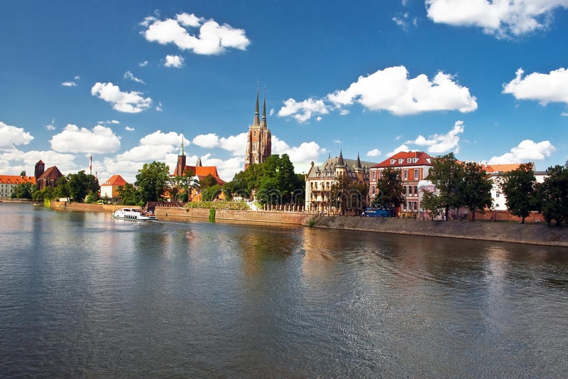 Cityscape van Wroclaw stock foto