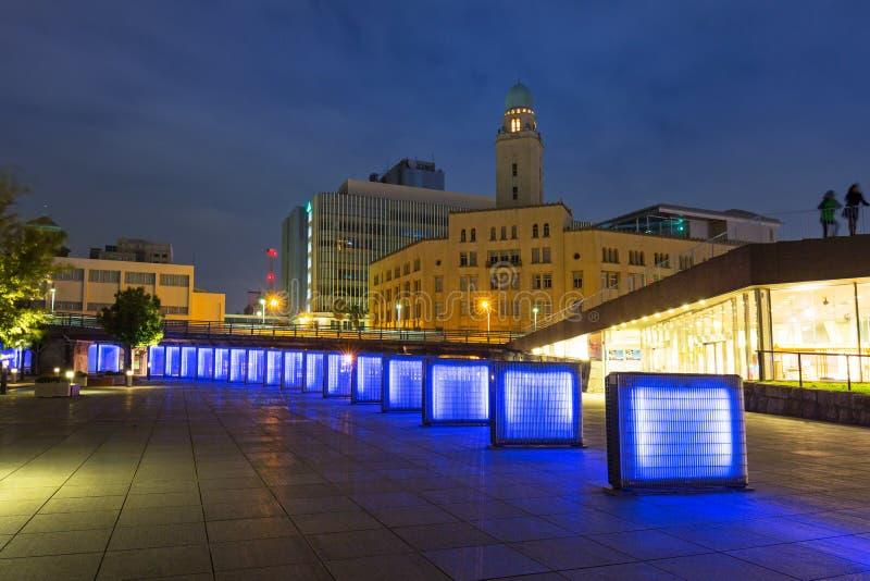 Cityscape van Yokohama bij nacht royalty-vrije stock fotografie