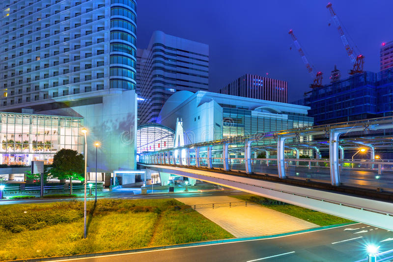 Cityscape van Yokohama-stad bij nacht royalty-vrije stock fotografie