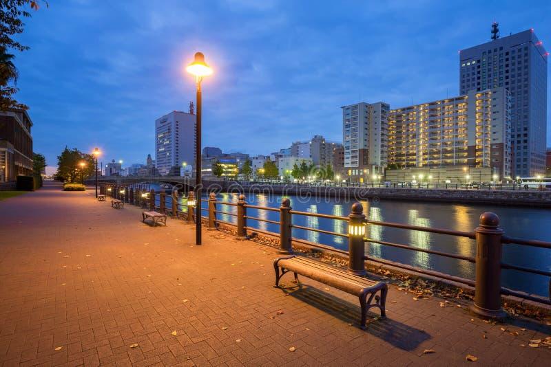 Cityscape van Yokohama-stad bij nacht royalty-vrije stock foto's
