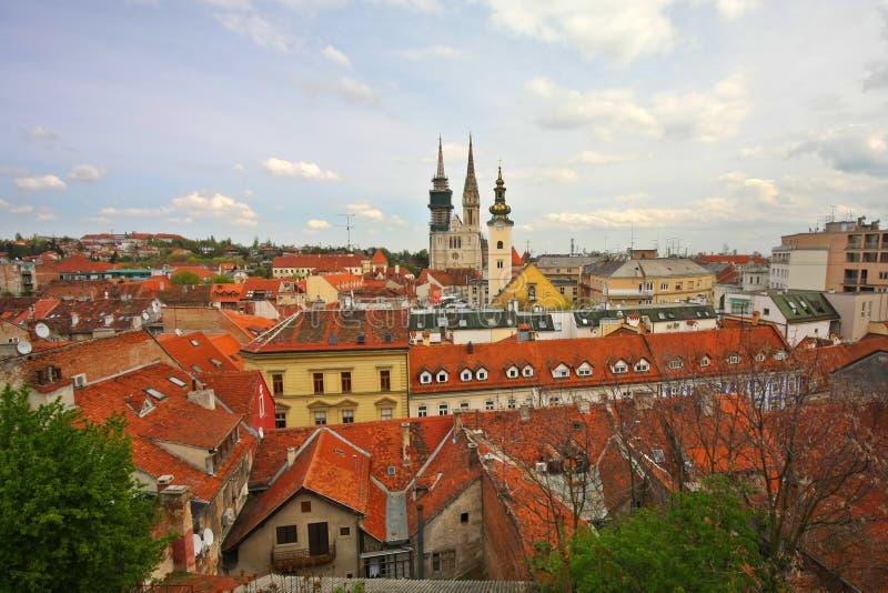 Cityscape van Zagreb stock foto's