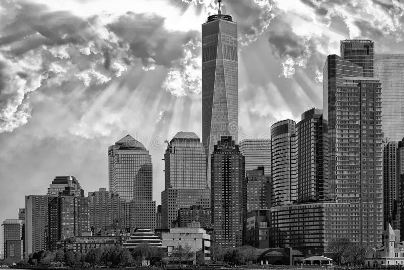 Cityscape van zonsopgangnew york Manhattan in b&w stock fotografie