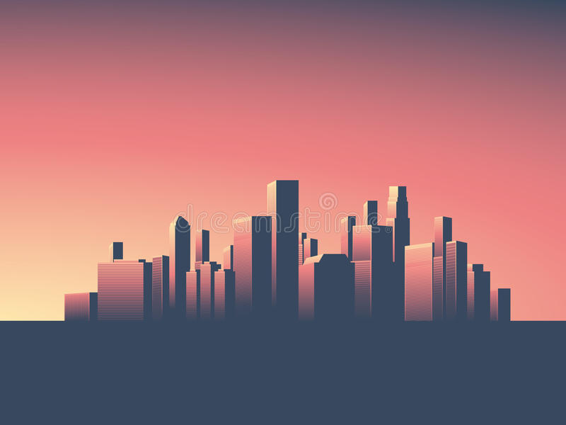 Download Cityscape Vector Background Skyline Wallpaper With Skyscrapers In Sunset Or Sunrise Stock