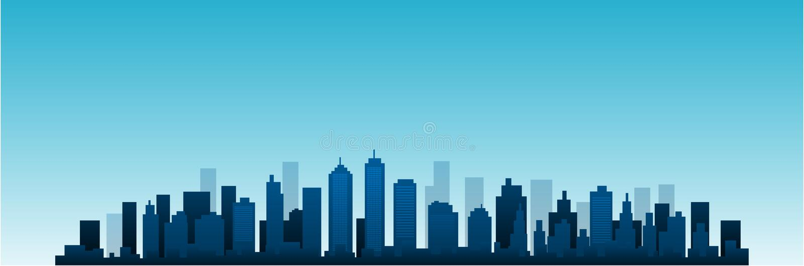 CItyscape vector city skyline at day stock illustration