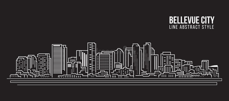 Cityscape Vector de Illustratieontwerp van de Rooilijnkunst - Bellevue-stad vector illustratie