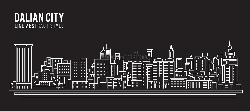 Cityscape Vector de Illustratieontwerp van de Rooilijnkunst - Dalian-stad stock illustratie