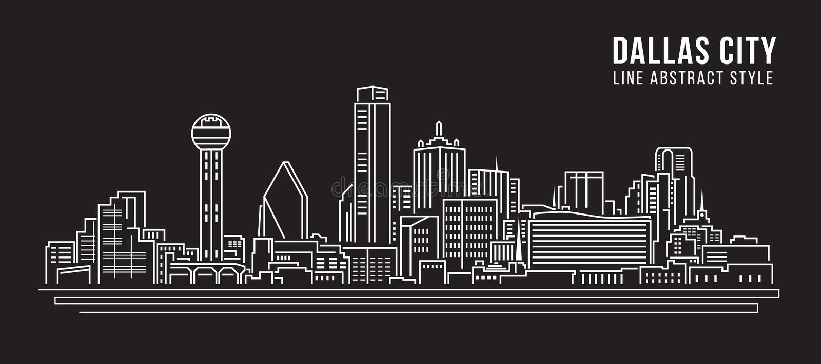 Cityscape Vector de Illustratieontwerp van de Rooilijnkunst - Dallas City vector illustratie