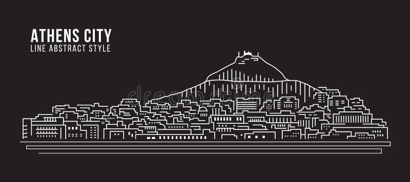 Cityscape Vector de Illustratieontwerp van de Rooilijnkunst - de stad van Athene royalty-vrije illustratie