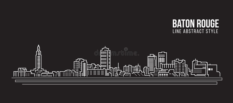 Cityscape Vector de Illustratieontwerp van de Rooilijnkunst - de stad van Baton Rouge stock illustratie