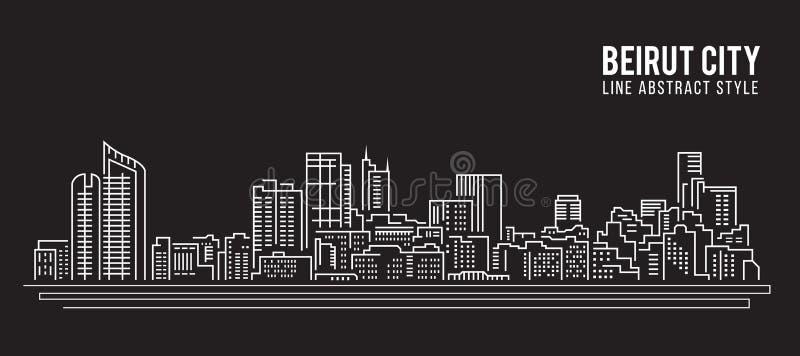 Cityscape Vector de Illustratieontwerp van de Rooilijnkunst - de stad van Beiroet vector illustratie