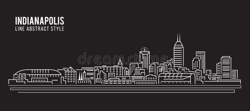 Cityscape Vector de Illustratieontwerp van de Rooilijnkunst - de stad van Indianapolis stock illustratie