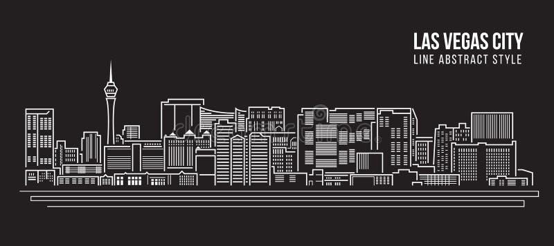 Cityscape Vector de Illustratieontwerp van de Rooilijnkunst - de stad van Las Vegas royalty-vrije illustratie