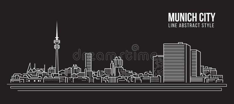 Cityscape Vector de Illustratieontwerp van de Rooilijnkunst - de stad van München vector illustratie