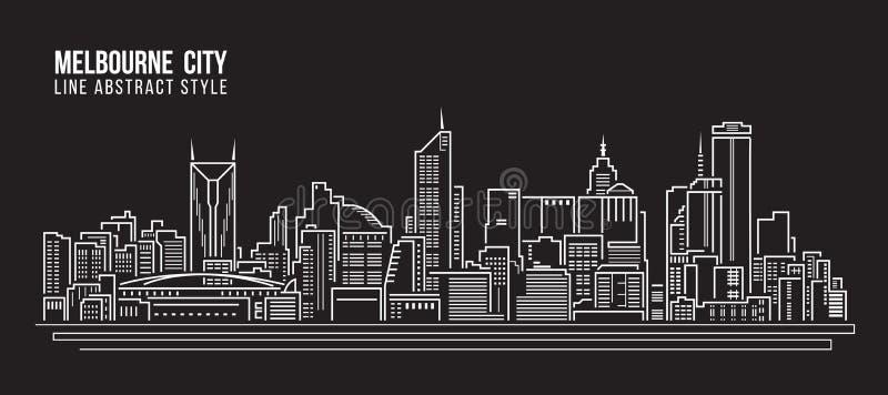 Cityscape Vector de Illustratieontwerp van de Rooilijnkunst - de Stad van Melbourne