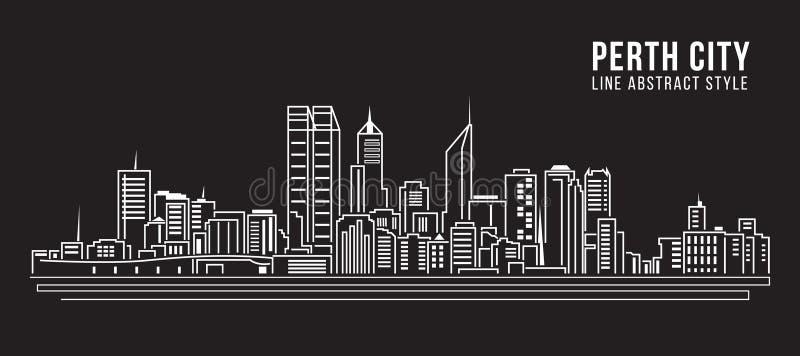 Cityscape Vector de Illustratieontwerp van de Rooilijnkunst - de Stad van Perth vector illustratie