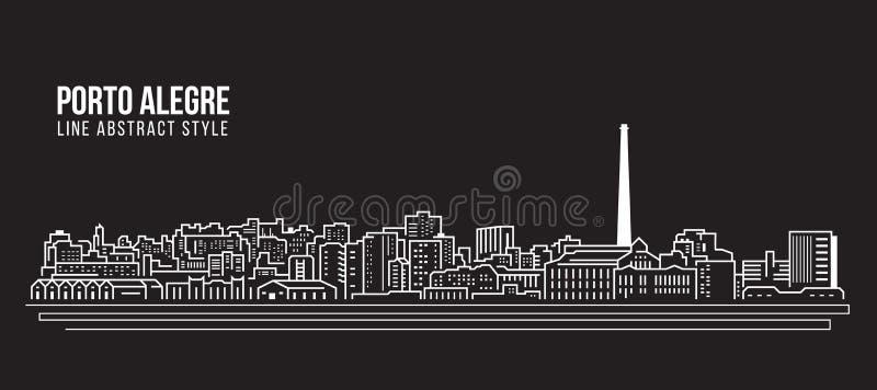 Cityscape Vector de Illustratieontwerp van de Rooilijnkunst - de stad van Porto Alegre stock illustratie