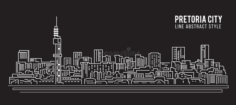 Cityscape Vector de Illustratieontwerp van de Rooilijnkunst - de stad van Pretoria vector illustratie