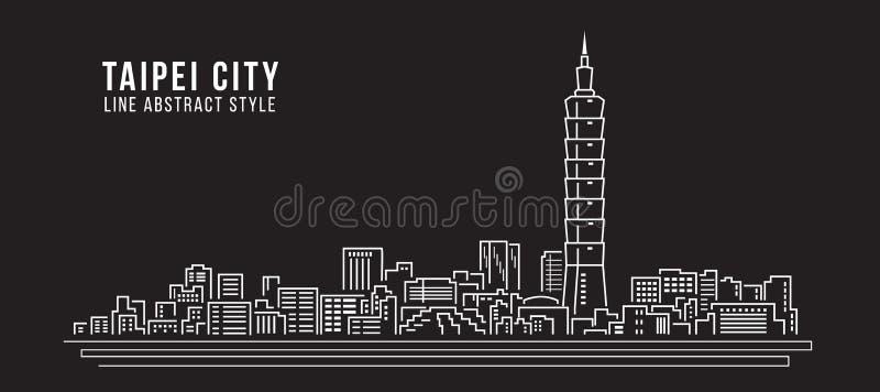 Cityscape Vector de Illustratieontwerp van de Rooilijnkunst - de stad van Taipeh vector illustratie