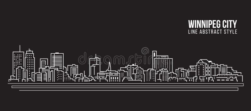 Cityscape Vector de Illustratieontwerp van de Rooilijnkunst - de stad van Winnipeg stock illustratie