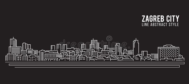 Cityscape Vector de Illustratieontwerp van de Rooilijnkunst - de stad van Zagreb vector illustratie