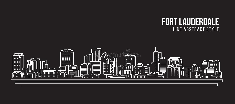 Cityscape Vector de Illustratieontwerp van de Rooilijnkunst - Fort Lauderdalestad stock illustratie
