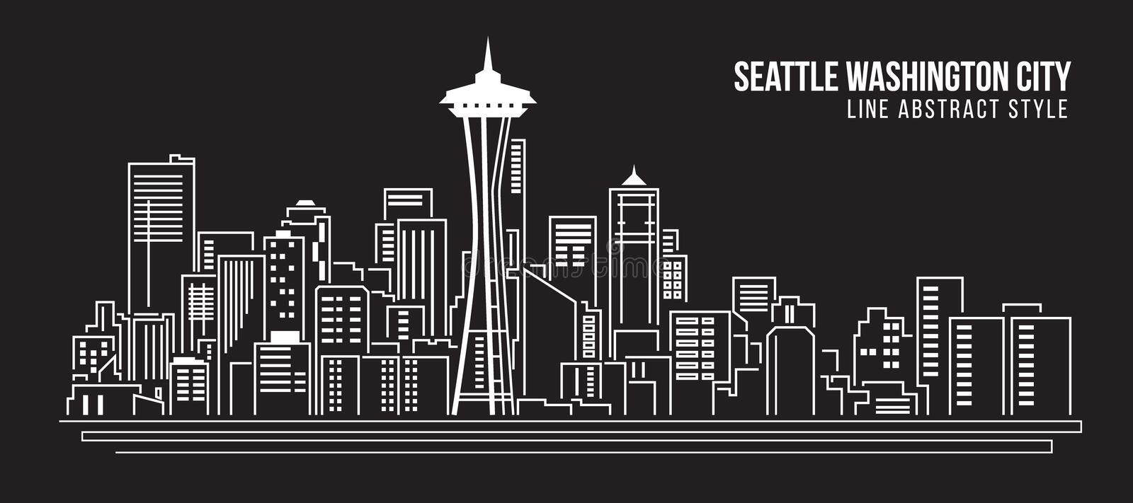 Cityscape Vector de Illustratieontwerp van de Rooilijnkunst - Seattle Washington City royalty-vrije illustratie