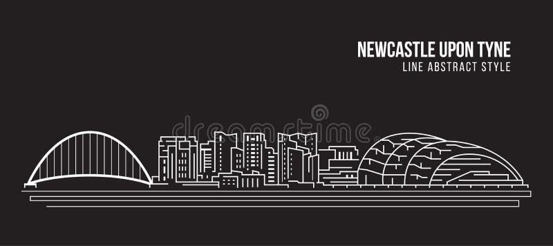 Cityscape Vector de Illustratieontwerp van de Rooilijnkunst - Newcastle op de Tyne-stad vector illustratie