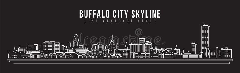 Cityscape Vector de Illustratieontwerp van de Rooilijnkunst - de stad van de Buffelshorizon royalty-vrije illustratie