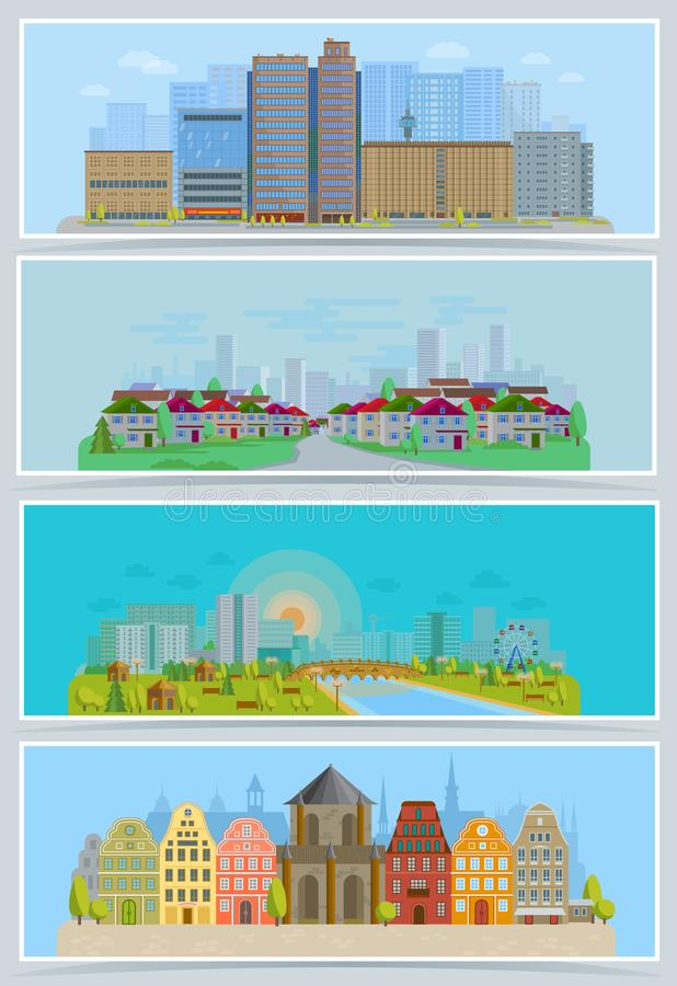 Cityscape vector urban city landscape with buildings and houses in the street of town downcity set illustration royalty free illustration