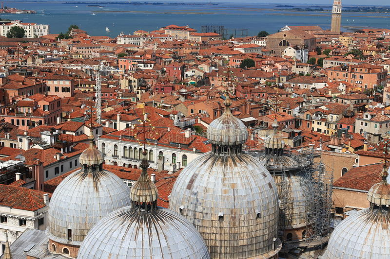 Cityscape in Venice. Beautiful streets and roofs of houses in Venice Italy stock photography