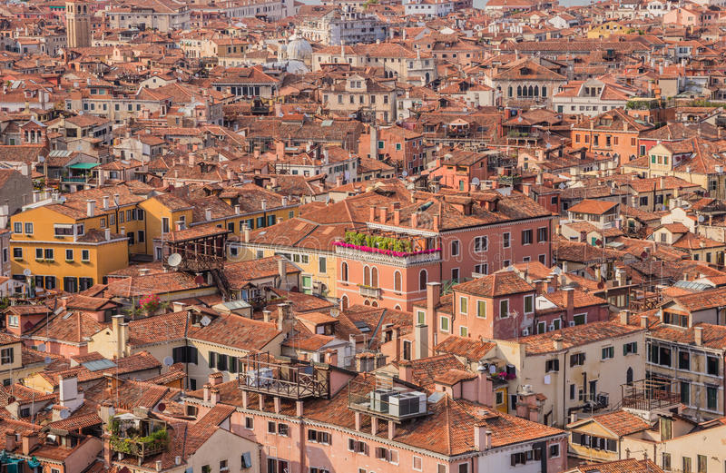 Cityscape of Venice - bird's eye view on residential district. From St Mark's Campanile stock image